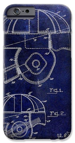 Minnesota iPhone Cases - 1925 Football Helmet Patent Drawing Blue iPhone Case by Jon Neidert