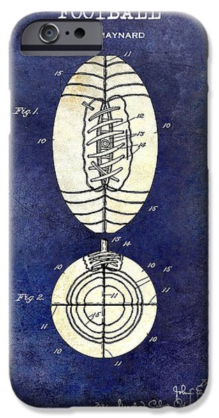 Minnesota iPhone Cases - 1925 Football Patent Drawing 2 Tone Blue iPhone Case by Jon Neidert