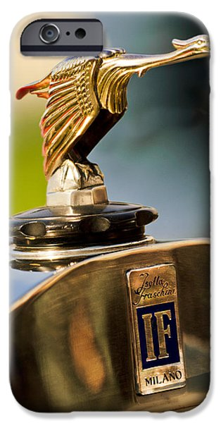 1925 Isotta Fraschini Tipo 8A S Corsica Boattail Speedster Hood Ornament iPhone Case by Jill Reger