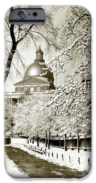 Boston iPhone Cases - 1925 Massachusetts State House iPhone Case by Historic Image