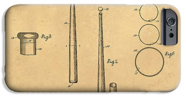 Baseball Glove iPhone Cases - 1926 Baseball Bat Patent Art Middlekauf 1 iPhone Case by Nishanth Gopinathan