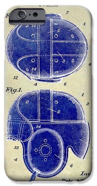 Minnesota iPhone Cases - 1926 Football Helmet Patent Drawing 2 Tone iPhone Case by Jon Neidert