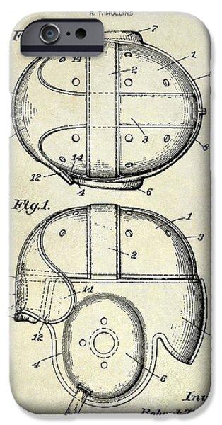 Minnesota iPhone Cases - 1926 Football Helmet Patent Drawing iPhone Case by Jon Neidert
