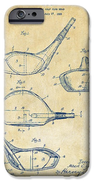 Golfer iPhone Cases - 1926 Golf Club Patent Artwork - Vintage iPhone Case by Nikki Marie Smith