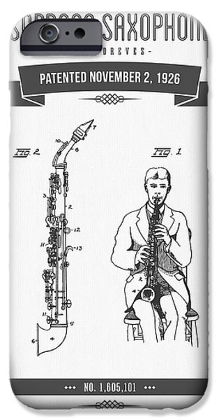 Soprano iPhone Cases - 1926 Soprano Saxophone Patent Drawing iPhone Case by Aged Pixel
