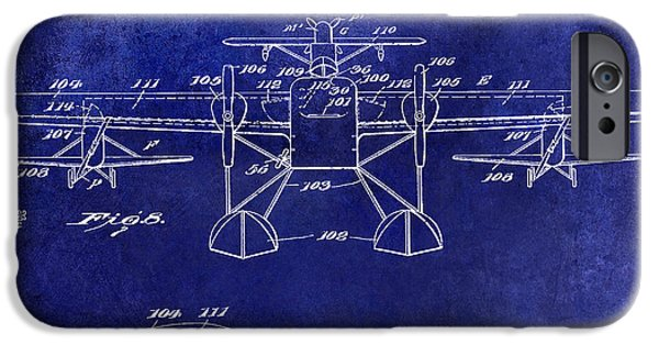 Airliner iPhone Cases - 1927 Airplane Patent Drawing Blue iPhone Case by Jon Neidert