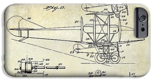 Airliner iPhone Cases - 1927 Airplane Patent Drawing iPhone Case by Jon Neidert