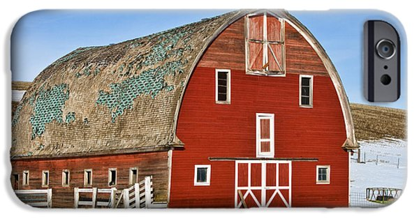 Red Barn In Winter iPhone Cases - 1927 Barn iPhone Case by Paul DeRocker