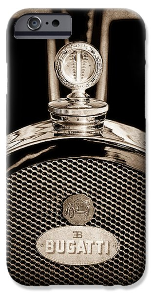 Bugatti Vintage Car iPhone Cases - 1927 Bugatti Replica Hood Ornament - Emblem iPhone Case by Jill Reger