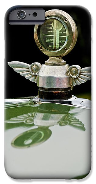 Motometer iPhone Cases - 1927 Chandler 4-Door Hood Ornament iPhone Case by Jill Reger