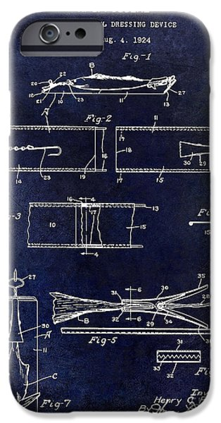 Shark iPhone Cases - 1927 Fish and Fowl cleaning Device Patent Blue iPhone Case by Jon Neidert