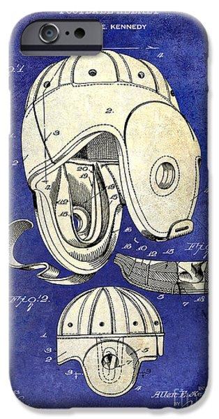 Minnesota iPhone Cases - 1927 Football Helmet Patent Drawing 2 Tone Blue iPhone Case by Jon Neidert