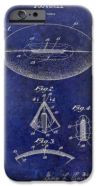 Minnesota iPhone Cases - 1927 Football Patent Drawing Blue iPhone Case by Jon Neidert