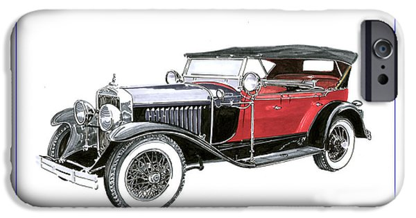 Fame Drawings iPhone Cases - 1927 LaSalle Dual Cowl Phaeton iPhone Case by Jack Pumphrey