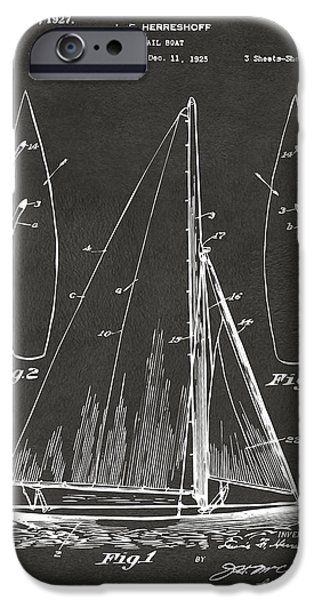 Sailboats iPhone Cases - 1927 Sailboat Patent Artwork - Blueprint iPhone Case by Nikki Marie Smith