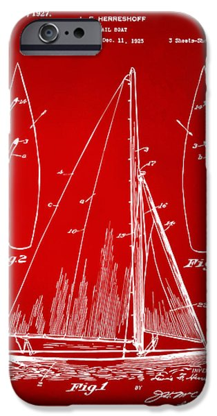 Sailboats iPhone Cases - 1927 Sailboat Patent Artwork - Red iPhone Case by Nikki Marie Smith