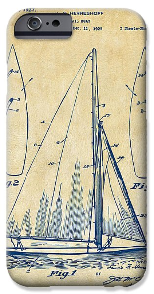 Sailboats iPhone Cases - 1927 Sailboat Patent Artwork - Vintage iPhone Case by Nikki Marie Smith