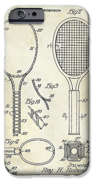 Marker iPhone Cases - 1927 Tennis Racket Patent Drawing  iPhone Case by Jon Neidert