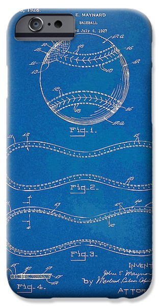 Baseball Art iPhone Cases - 1928 Baseball Patent Artwork - Blueprint iPhone Case by Nikki Smith