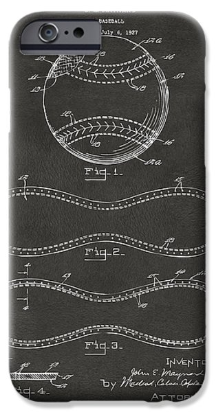 Sports Digital Art iPhone Cases - 1928 Baseball Patent Artwork - Gray iPhone Case by Nikki Marie Smith