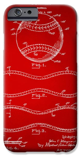 Athlete Digital Art iPhone Cases - 1928 Baseball Patent Artwork Red iPhone Case by Nikki Marie Smith