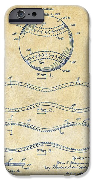 Athlete Digital Art iPhone Cases - 1928 Baseball Patent Artwork Vintage iPhone Case by Nikki Marie Smith