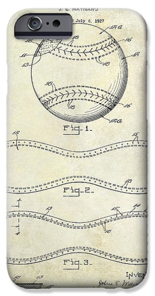 Baseball Glove iPhone Cases - 1928 Baseball Patent Drawing  iPhone Case by Jon Neidert