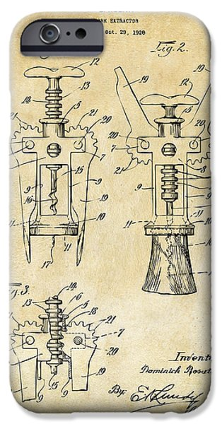 Cave Digital iPhone Cases - 1928 Cork Extractor Patent Art - Vintage Black iPhone Case by Nikki Marie Smith