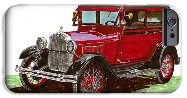 Pen And Ink Framed Prints iPhone Cases - 1928 Ford model A two door iPhone Case by Jack Pumphrey