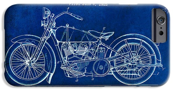 Victory iPhone Cases - 1928 Harley Davidson Patent Drawing Blue iPhone Case by Jon Neidert