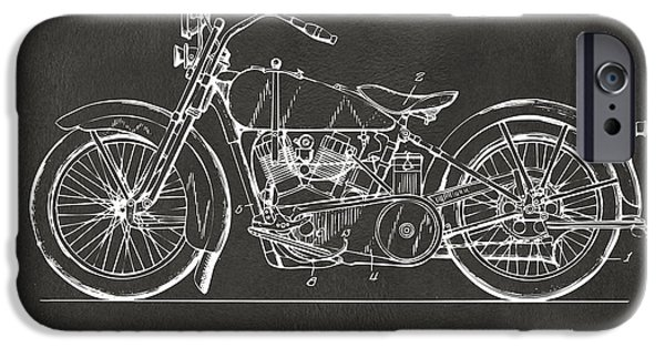 Concept Digital Art iPhone Cases - 1928 Harley Motorcycle Patent Artwork - Gray iPhone Case by Nikki Marie Smith