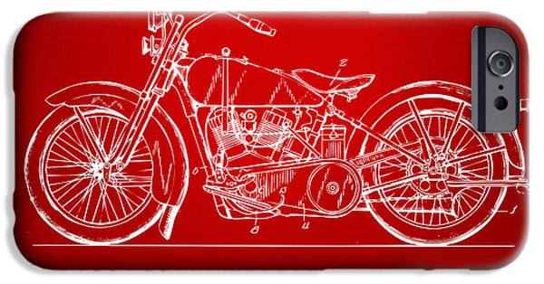 Concept Digital Art iPhone Cases - 1928 Harley Motorcycle Patent Artwork Red iPhone Case by Nikki Marie Smith