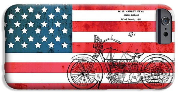 Red White And Blue Mixed Media iPhone Cases - 1928 Harley Patent American Flag iPhone Case by Dan Sproul