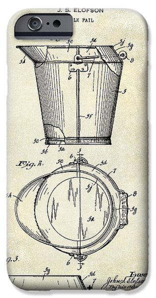 Pail iPhone Cases - 1928 Milk Pail Patent Drawing iPhone Case by Jon Neidert