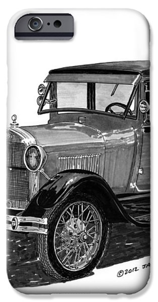 1928 Model A Ford 2 dr Sedan iPhone Case by Jack Pumphrey