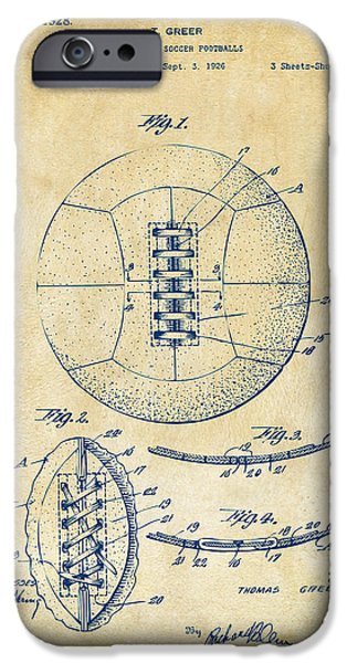 Soccer iPhone Cases - 1928 Soccer Ball Lacing Patent Artwork - Vintage iPhone Case by Nikki Marie Smith