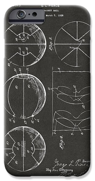 Basket Ball Game iPhone Cases - 1929 Basketball Patent Artwork - Gray iPhone Case by Nikki Marie Smith