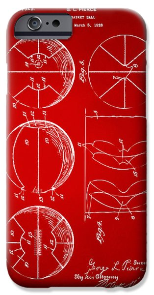 Cave Digital iPhone Cases - 1929 Basketball Patent Artwork - Red iPhone Case by Nikki Marie Smith
