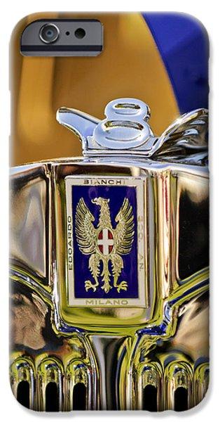 1929 Bianchi S8 Graber Cabriolet Hood Ornament and Emblem iPhone Case by Jill Reger