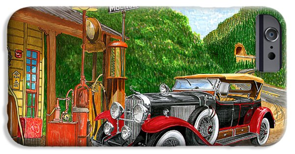 Gas Paintings iPhone Cases - 1929 Cadillac Dual Cowl Phaeton and Pegasus iPhone Case by Jack Pumphrey