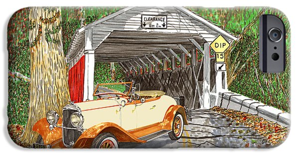 Covered Bridge Drawings iPhone Cases - 1929 Chrysler 65 Covered Bridge iPhone Case by Jack Pumphrey