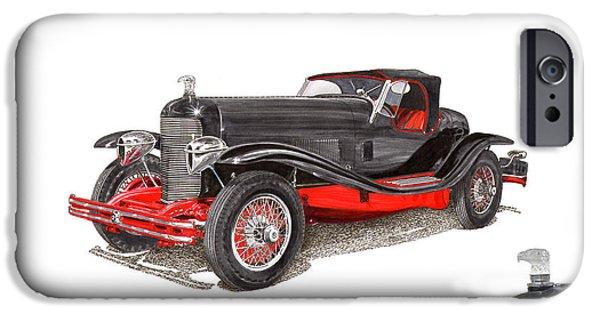 Fame Drawings iPhone Cases - 1929 Du Pont Speedster Model G  iPhone Case by Jack Pumphrey