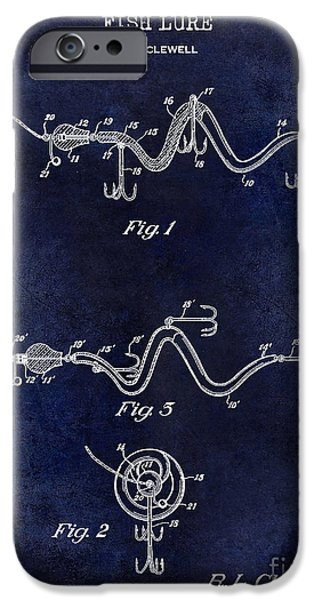 Cape Cod iPhone Cases - 1929 Fish Lure Patent Drawing Blue iPhone Case by Jon Neidert