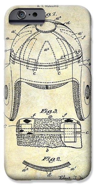 Minnesota iPhone Cases - 1929 Football Helmet Patent Drawing iPhone Case by Jon Neidert