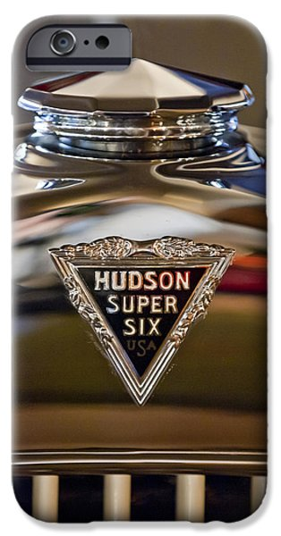 Hoodies iPhone Cases - 1929 Hudson Cabriolet Hood Ornament iPhone Case by Jill Reger