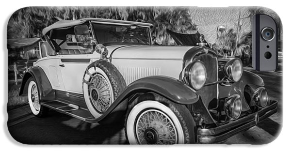 2 Seat iPhone Cases - 1929 REO Flying Cloud Convertible  BW iPhone Case by Rich Franco