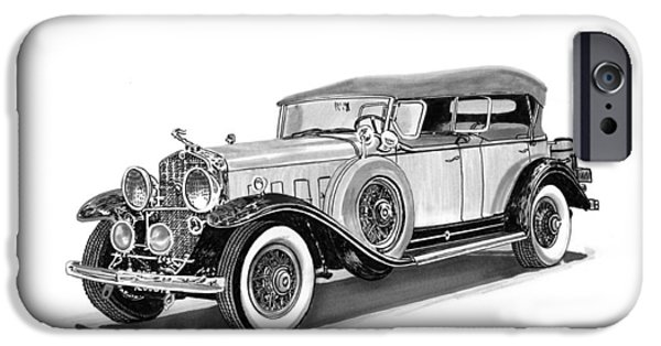 Pen And Ink Framed Prints iPhone Cases - 1931 Cadillac Phaeton iPhone Case by Jack Pumphrey