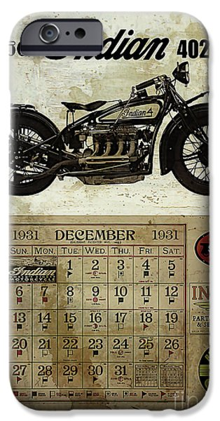 Vintage Cars iPhone Cases - 1930 Indian 402 iPhone Case by Cinema Photography