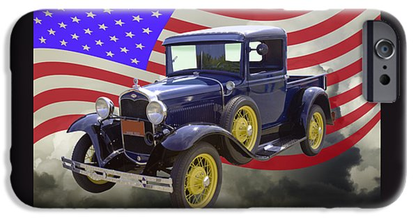 Model Digital Art iPhone Cases - 1930 Model A Ford Pickup Truck And American Flag iPhone Case by Keith Webber Jr
