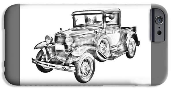 Model Digital Art iPhone Cases - 1930 Model A Ford Pickup Truck IIlustration iPhone Case by Keith Webber Jr